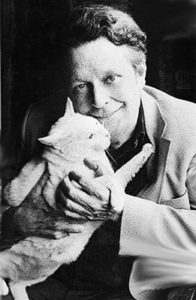 Devoted cat lover and author Cleveland Amory and Polar Bear